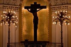 Silueta de Jesús en cruz Foto de archivo libre de regalías