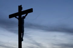 Silueta de Jesús en la cruz Foto de archivo