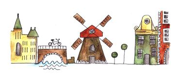 Silueta de la acuarela de Amsterdam ilustración del vector