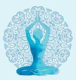 Silueta de la acuarela en actitud del loto libre illustration