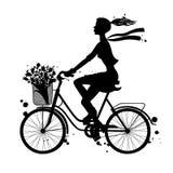 Silueta de la bici fotos de archivo