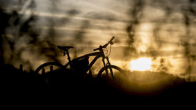 Silueta de la bici de montaña con la luz de la puesta del sol Fotografía de archivo libre de regalías