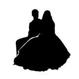 Silueta de la boda Imagen de archivo libre de regalías
