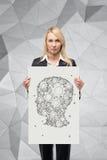 Silueta de la cabeza con los engranajes Fotos de archivo libres de regalías