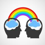 Silueta de la cabeza de un hombre con un arco iris y las nubes Imágenes de archivo libres de regalías