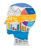 Silueta de la cabeza del encargado de ventas del economista stock de ilustración