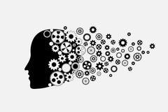 Silueta de la cabeza humana con el sistema del engranaje Fotos de archivo