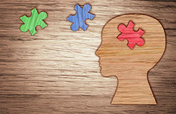 Silueta de la cabeza humana, símbolo de la salud mental Rompecabezas Imagen de archivo libre de regalías