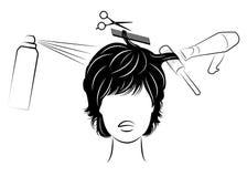 Silueta de la cabeza de una se?ora linda La muchacha en el peluquero Una mujer hace un corte de pelo, corta el pelo, se seca, bar stock de ilustración
