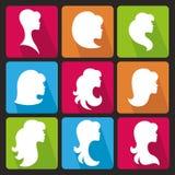 Silueta de la cara de la muchacha Estilo de pelo de los perfiles Iconos fijados Foto de archivo libre de regalías