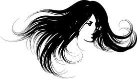 Silueta de la cara de la mujer ilustración del vector