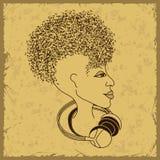 Silueta de la cara de la mujer con el pelo de las notas musicales Fotografía de archivo libre de regalías