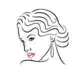 Silueta de la cara de la mujer Concepto abstracto para el diseño de la moda Fotografía de archivo libre de regalías