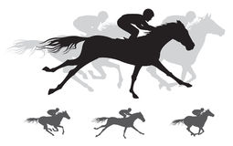 Silueta de la carrera de caballos, galope Foto de archivo libre de regalías