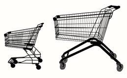 Silueta de la carretilla de las compras Imagen de archivo