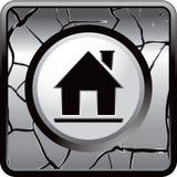 Silueta de la casa en el botón agrietado gris del Web Foto de archivo libre de regalías