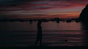 Silueta de la chica joven en vestido que camina en la playa de la puesta del sol que disfruta de opiniones del mar y de la isla L metrajes