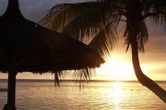 Silueta de la choza y de la palma como sistemas del sol sobre el océano imagenes de archivo