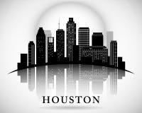 Silueta de la ciudad del horizonte de Houston Texas Imagen de archivo