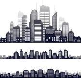 Silueta de la ciudad del vector aislada en blanco Imágenes de archivo libres de regalías