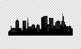 Silueta de la ciudad del vector Color negro Panorama de Megapolis Rascacielos en la noche con las luces en Windows Fotos de archivo libres de regalías