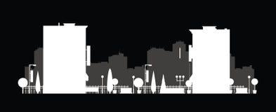 Silueta de la ciudad del vector Fondo del paisaje urbano Ejemplo del edificio arquitectónico en la visión panorámica Horizonte mo Imagenes de archivo