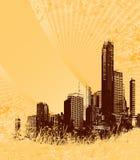 Silueta de la ciudad marrón libre illustration