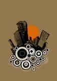 Silueta de la ciudad negra en fondo marrón ilustración del vector