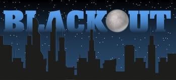 Silueta de la ciudad y de la noche con las estrellas, la luna del tonto en el cielo oscuro y el título del apagón stock de ilustración
