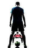 Silueta de la competencia del portero del jugador de fútbol de dos hombres Foto de archivo libre de regalías