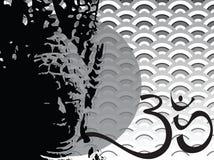 Silueta de la concha de peregrino del ohmio de Buddha Imágenes de archivo libres de regalías