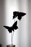 Silueta de la decoración de la mariposa Fotos de archivo