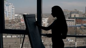 Silueta de la escritura experta de la empresaria del director en un whiteboard de papel en oficina moderna principal mujer almacen de video