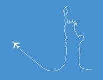 Silueta de la estatua del aeroplano Imágenes de archivo libres de regalías
