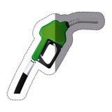 silueta de la etiqueta engomada del color con la boca de la bomba de gasolina Foto de archivo libre de regalías