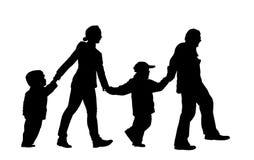 Silueta de la familia de cuatro miembros stock de ilustración