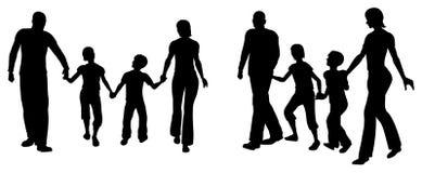 Silueta de la familia de cuatro miembros del vector