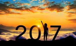 Silueta de la Feliz Año Nuevo 2017 Foto de archivo libre de regalías
