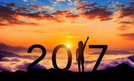 Silueta de la Feliz Año Nuevo 2017 Fotos de archivo