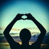 Silueta de la forma del corazón Imagen de archivo libre de regalías