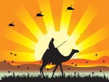 Silueta de la gente, puesta del sol i stock de ilustración