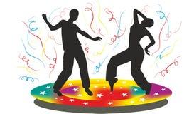 Silueta de la gente que baile en disco Imagenes de archivo