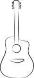 Silueta de la guitarra acústica Foto de archivo libre de regalías