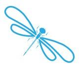 Silueta de la libélula del vector Ejemplo gráfico de la historieta del damselfly aislado con las alas blancos y negros bosquejo ilustración del vector