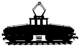 Silueta de la locomotora eléctrica Fotos de archivo libres de regalías