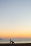 Silueta de la madre con el cochecito que disfruta de maternidad en la puesta del sol Fotografía de archivo libre de regalías