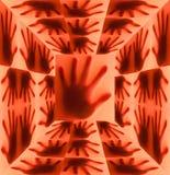 Silueta de la mano en sitio rojo fotos de archivo