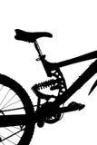 silueta de la Montaña-bici Foto de archivo libre de regalías