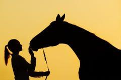 Silueta de la muchacha con el caballo en la puesta del sol Imagen de archivo