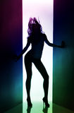 Silueta de la muchacha de baile Foto de archivo